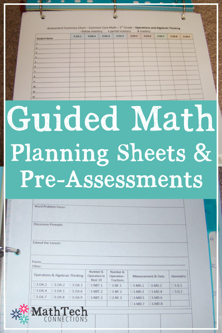 Third Grade – Common Core Pre-Assessments & Guided Math Sheets