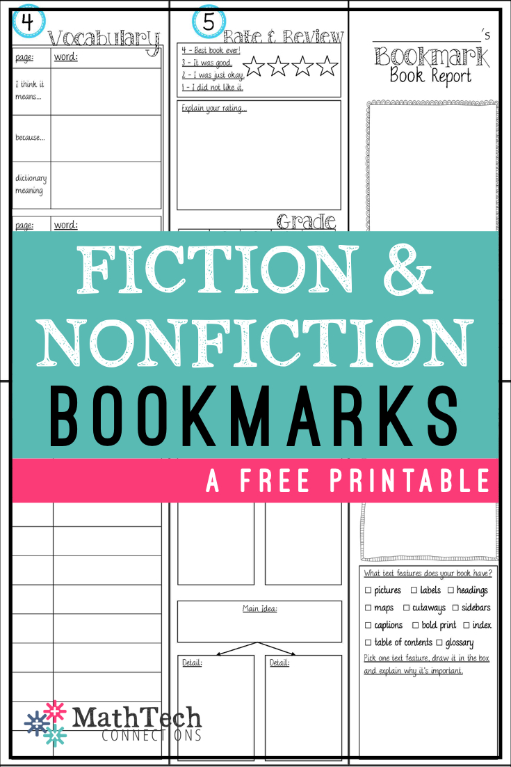 FICTION AND NONFICTION bookmark book reports perfect for reading workshop
