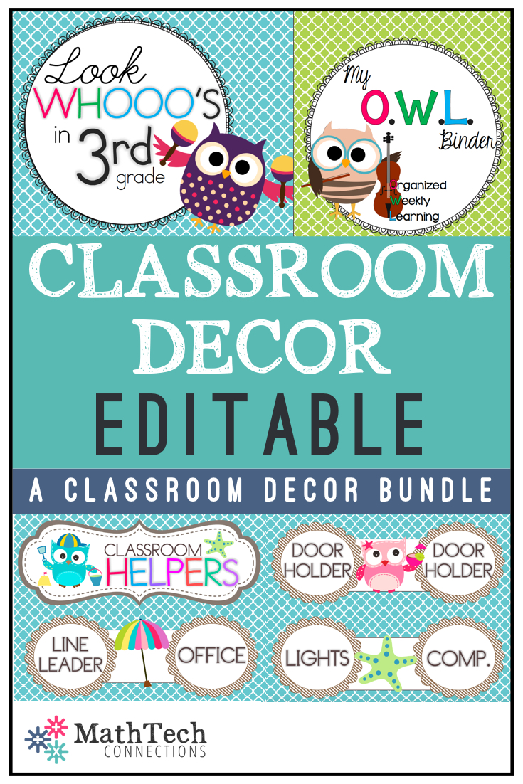 cute owl classroom decor editable pages