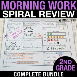 2nd grade math spiral review morning morning work or homework. review all common core math standards