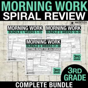 3rd grade math spiral review morning morning work or homework. review all common core math standards