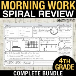 4th grade math spiral review morning morning work or homework. review all common core math standards