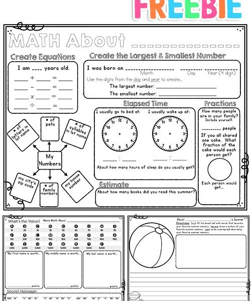 back to school - math about me - freebie