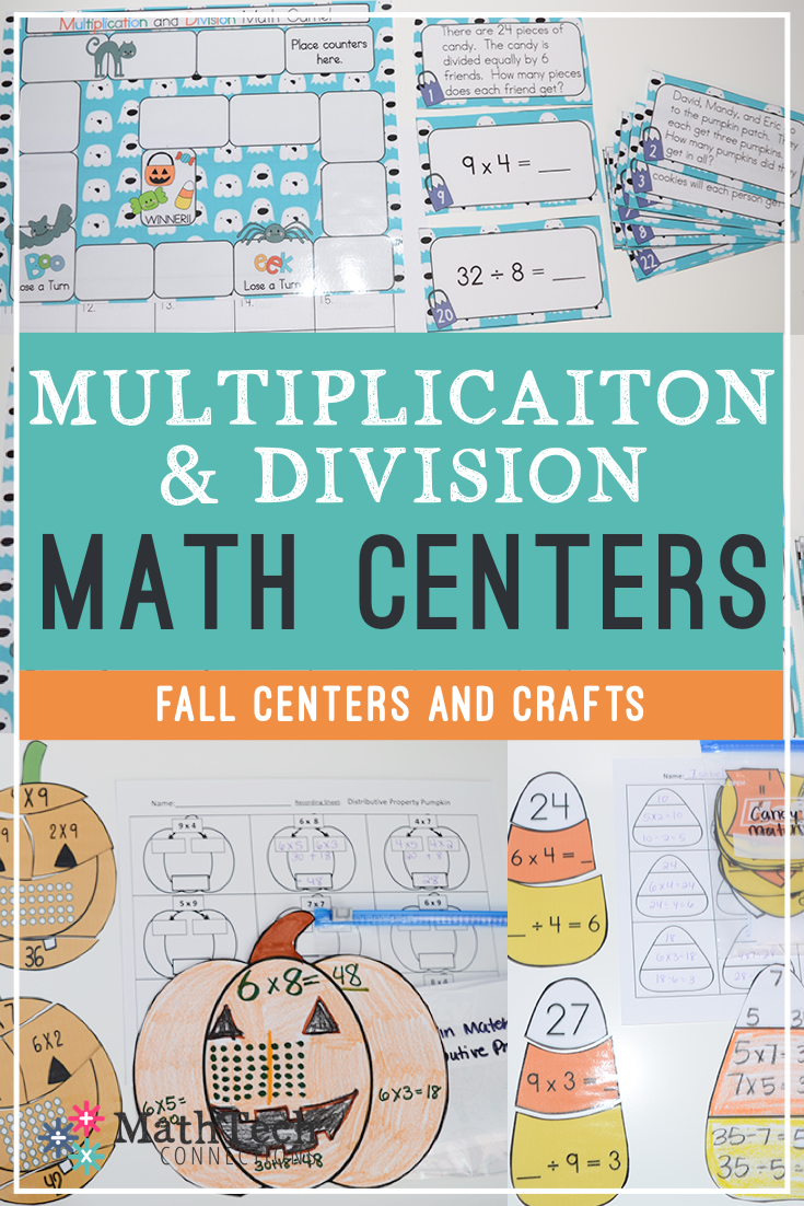 fall math games, multiplication and division math workshop centers