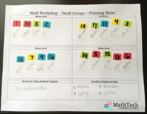 math workshop - small groups - planning sheet
