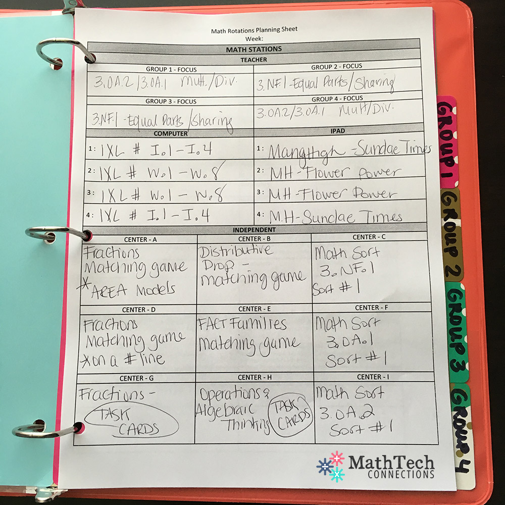 math workshop rotations - weekly lesson plan template