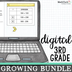 Third grade digital math centers growing bundle. These paperless centers cover ALL third grade common core math standards. Use these digital slides with Google Classroom. A PowerPoint version is also included.