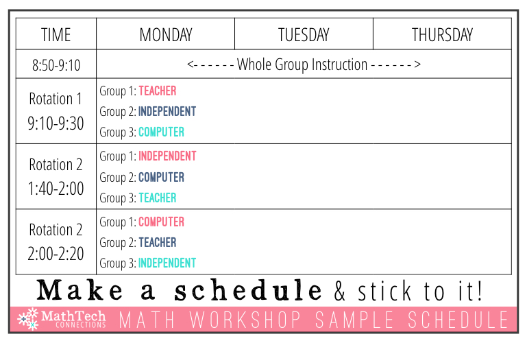math workshop sample schedule