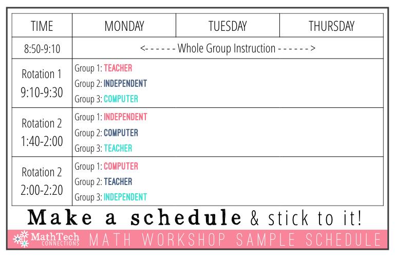 math workshop sample schedule