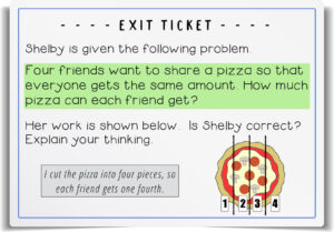 equal parts - fractions exit ticket