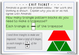 Use pattern blocks to each numerator and denominator - fractions third grade - free problems and exit ticket