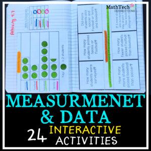 third grade measurement and data interactive activities with math menus