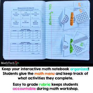 organize interactive notebooks with math menus
