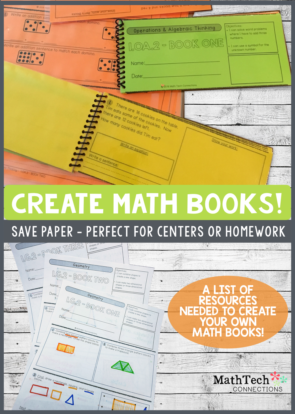 Create math book for use during one on one math conferences, math centers, or homework