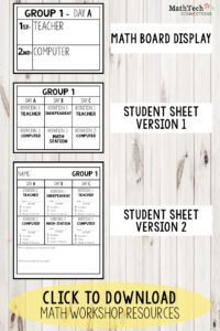 math rotations board display - student accountability sheets for math workshop
