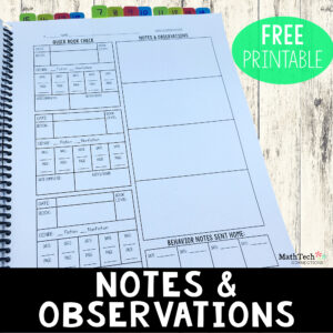 create a notebook to house all you student observations for reading, math, and behavior - free download