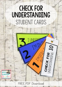 check for understanding student cards - self assessment freebie