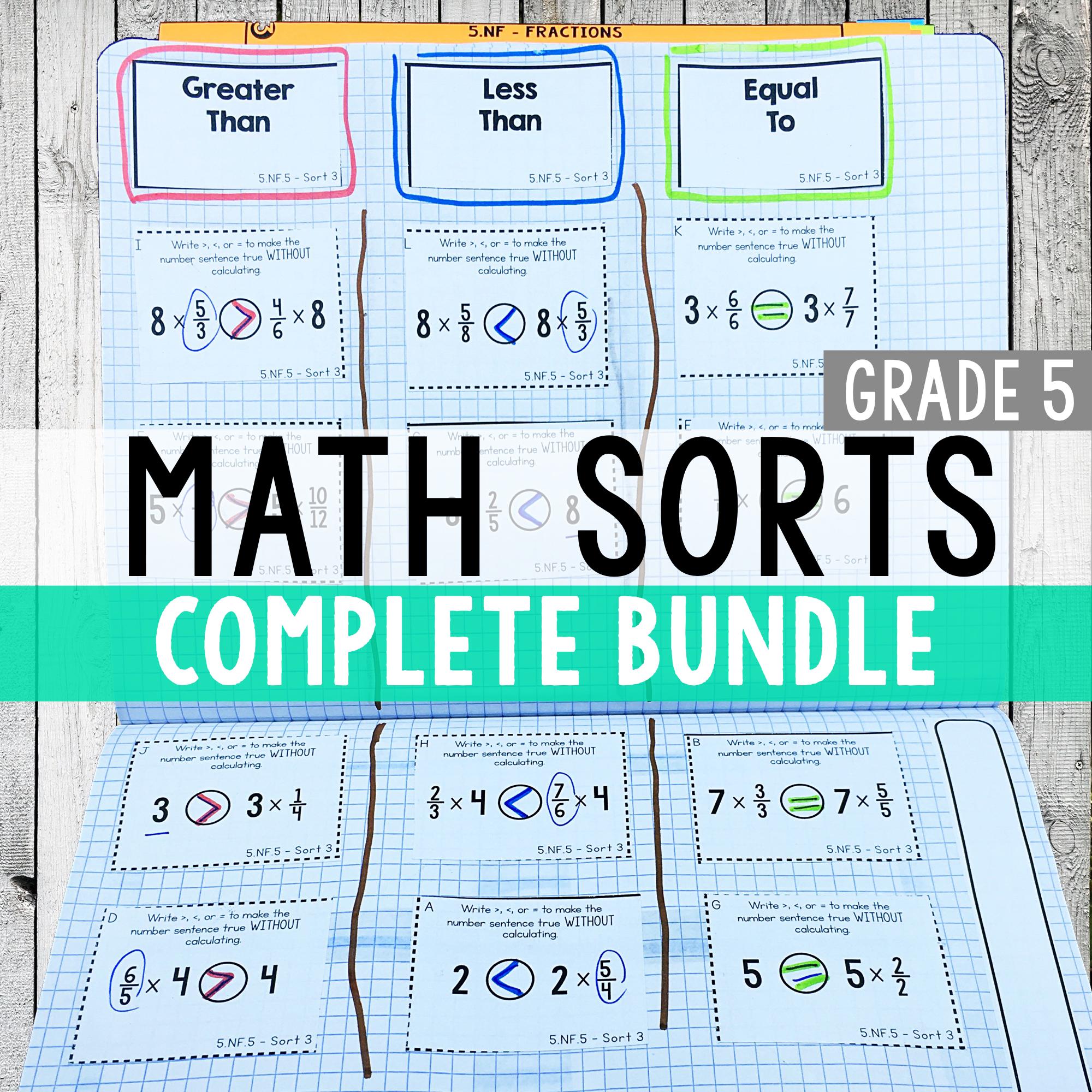 5th Grade Math Sorts - Math Centers