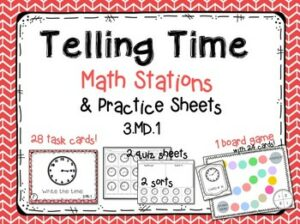 basic telling time math stations for second and third graders