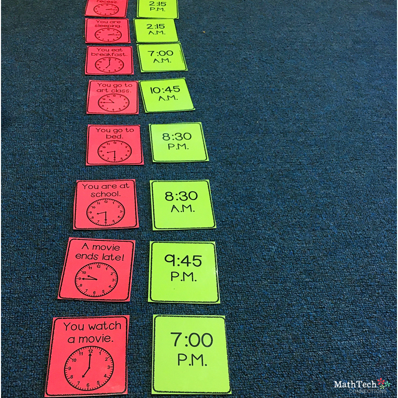telling time math center, math game, AM and PM math game for third grade