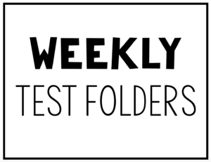 Students take home these weekly test folders. The take home folders include weekly tests and a weekly behavior sheet. Download the pages for free.
