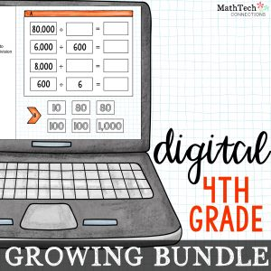 Fourth grade digital math centers growing bundle. These paperless centers cover ALL fourth grade common core math standards. Use these digital slides with Google Classroom. A PowerPoint version is also included.