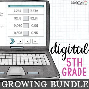 Fifth grade digital math centers growing bundle. These paperless centers cover ALL fifth grade common core math standards. Use these digital slides with Google Classroom. A PowerPoint version is also included.