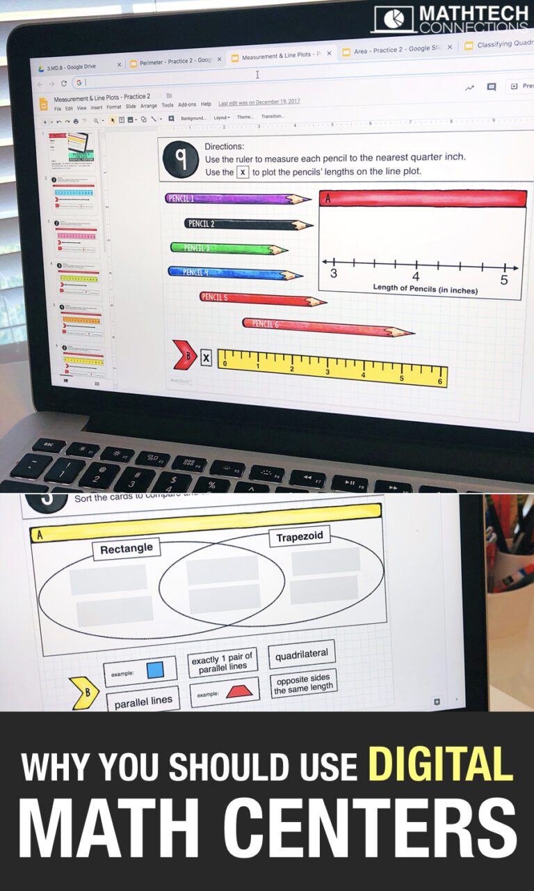 Save time with digital math centers. Use interactive digital slides during math workshop block. They make the perfect technology center. These math centers cover all math standards.