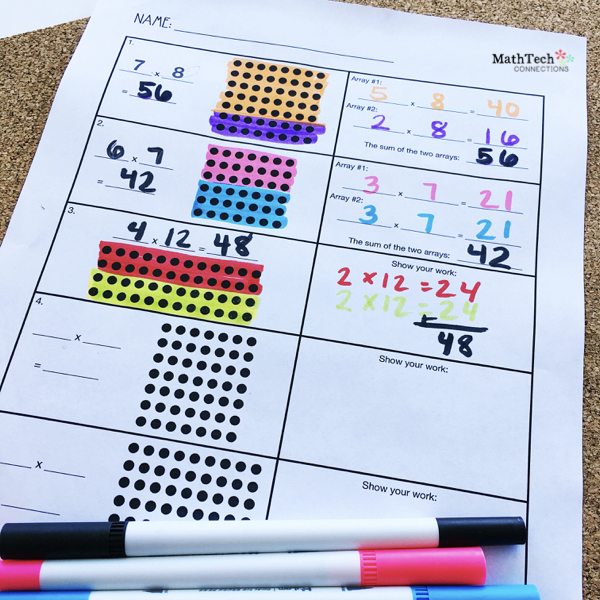 Free Distributive of Multiplication Math Printable. Download free resources to review multiplication. Third grade math centers.