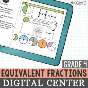 Digital Interactive Equivalent Fractions Practice for Fourth Grade Math Centers