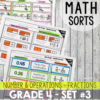 Fractions Fourth Grade Math Activities for Math Centers. Math Sorts to Practice Fractions.
