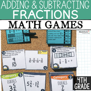 Fractions Fourth Grade Math Activities for Math Centers. Math Sorts to Practice Adding and Subtracting Fractions.