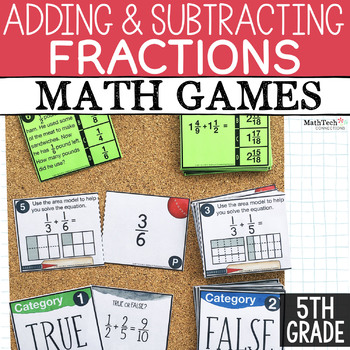 Fractions Fifth Grade Math Activities for Math Centers. Math Sorts to Practice Adding and Subtracting Fractions.