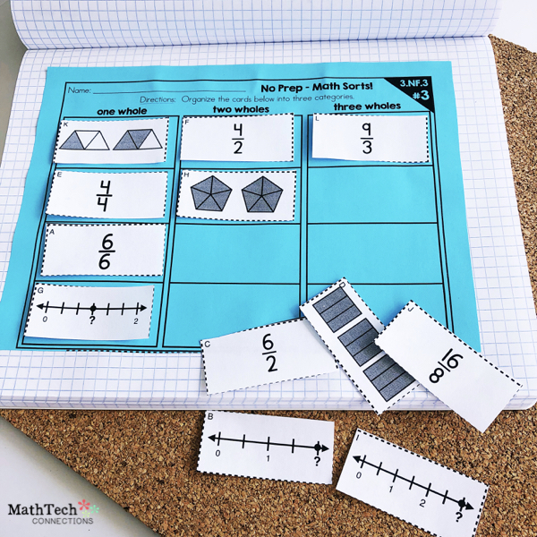 Math Sorts to Review Fractions