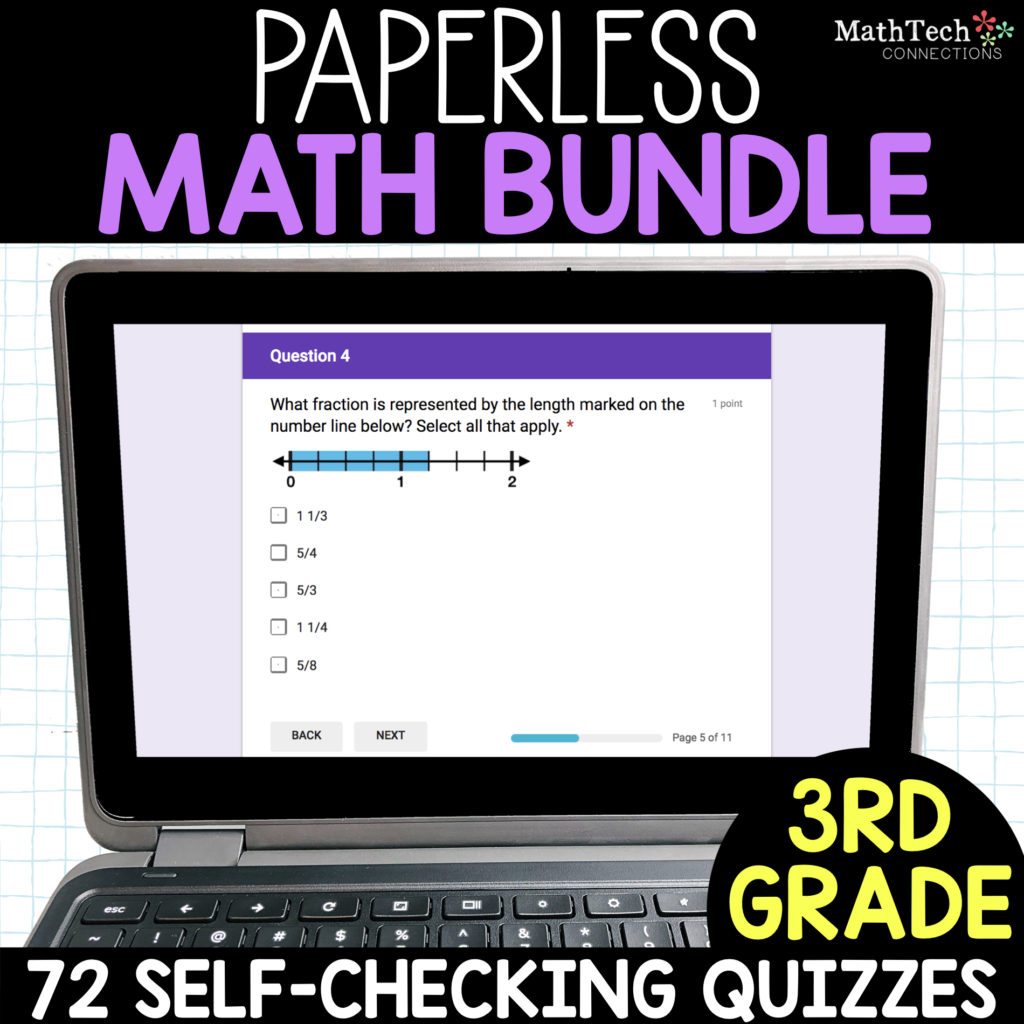 Paperless Math Resources - Google Forms Quizzes to use with Google Classroom in Elementary School. Digital math resources that cover all 3rd, 4th, and 5th grade math standards