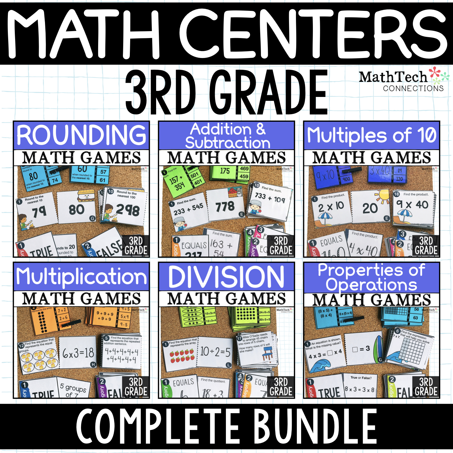 3rd Grade Math Centers for Math Workshop - Three math activities for third grade math centers