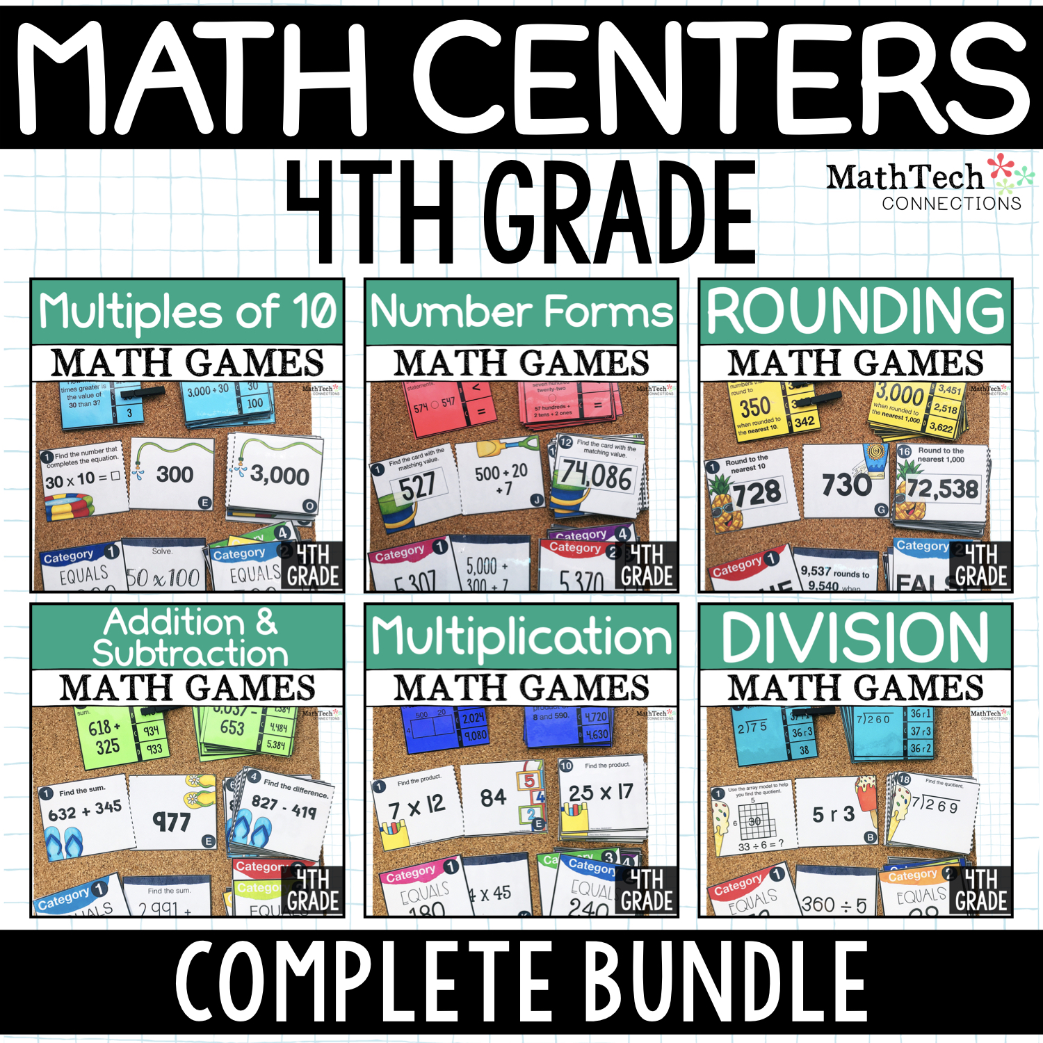 4th Grade Math Centers for Math Workshop - Three math activities for fourth grade math centers