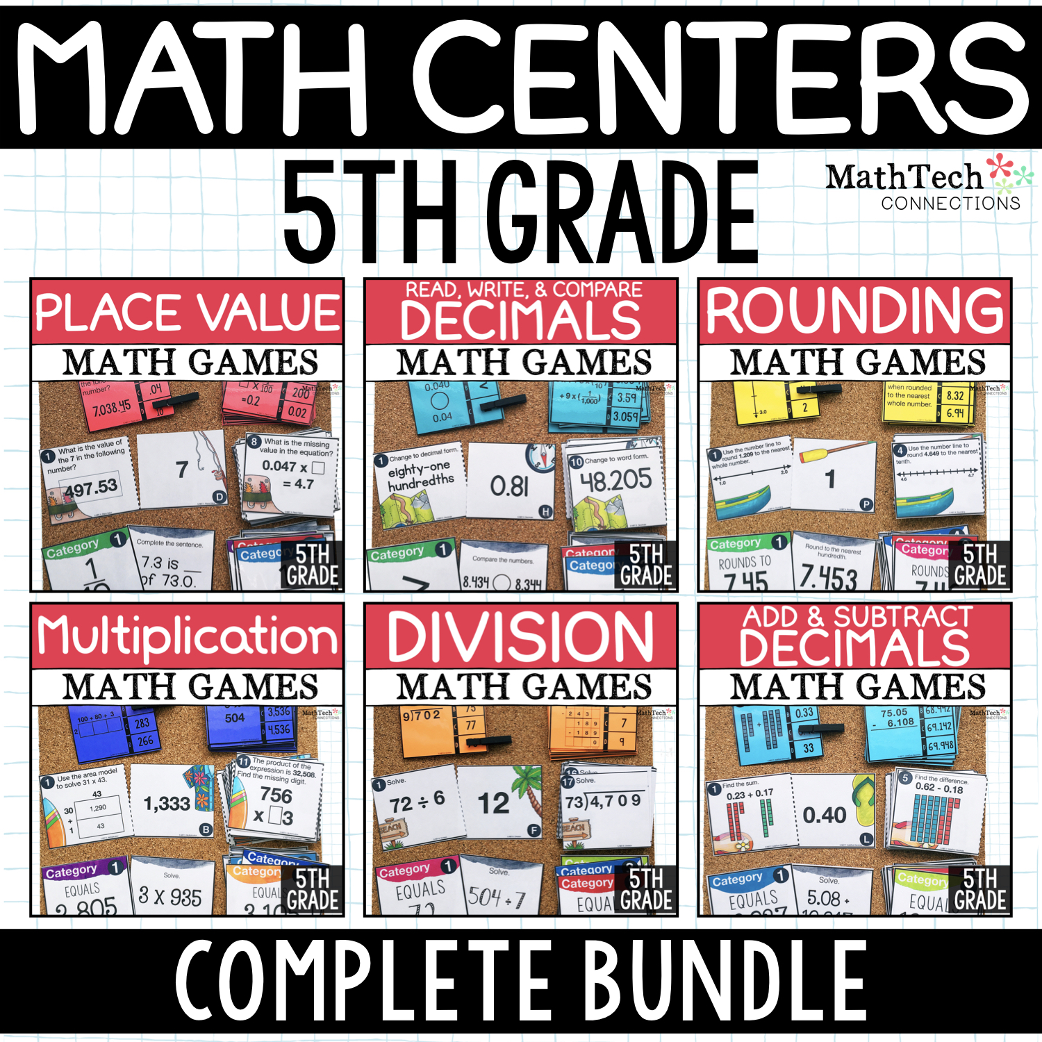5th Grade Math Centers for Math Workshop - Three math activities for fifth grade math centers