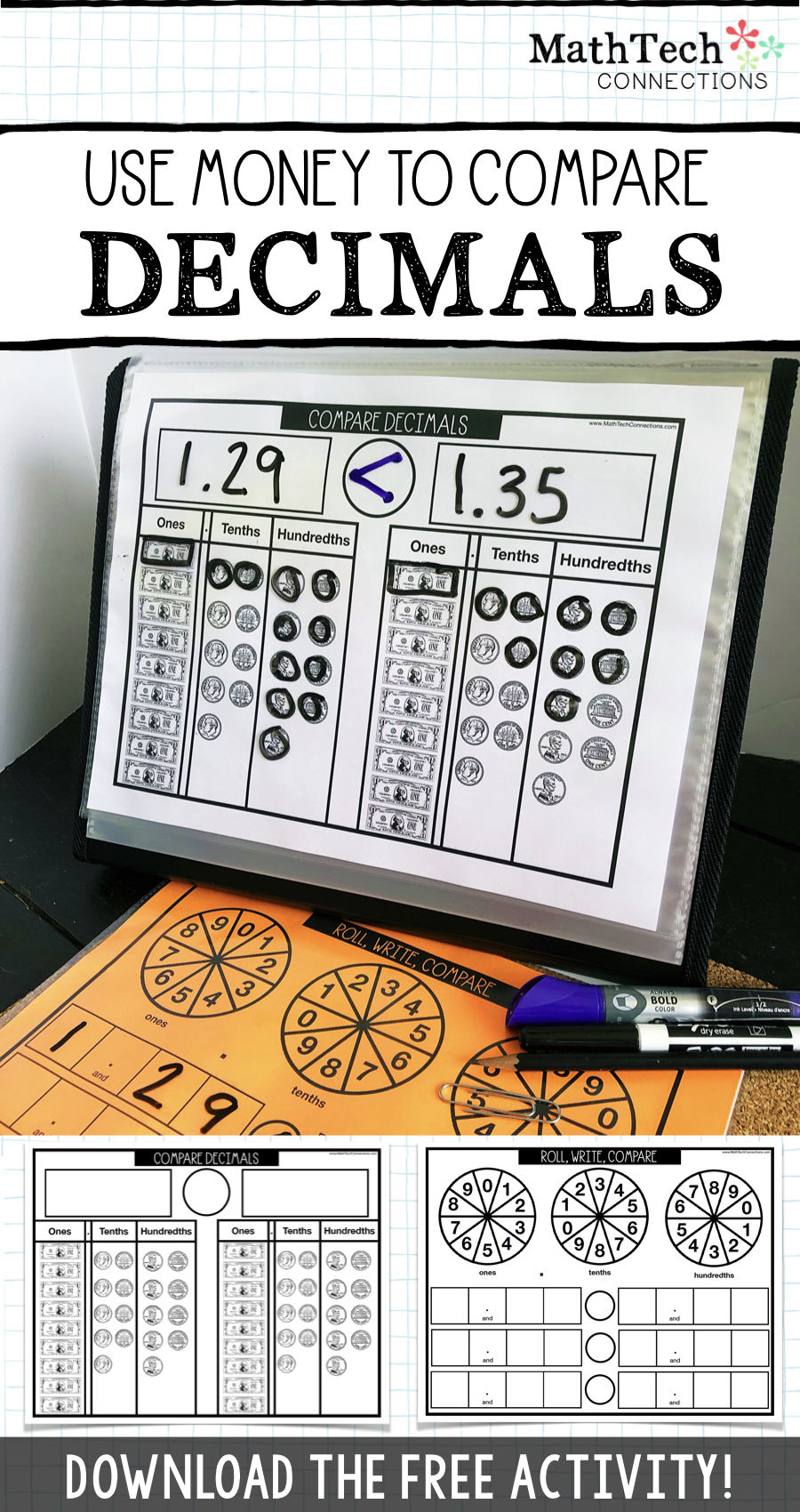 Introduce decimals using money. Fourth grade decimal introduction lesson or 5th grade decimal review activity.