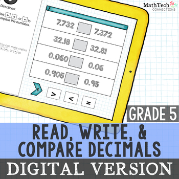 paperless, interactive decimals math center 5th grade