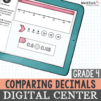 paperless, interactive decimals math center 4th grade