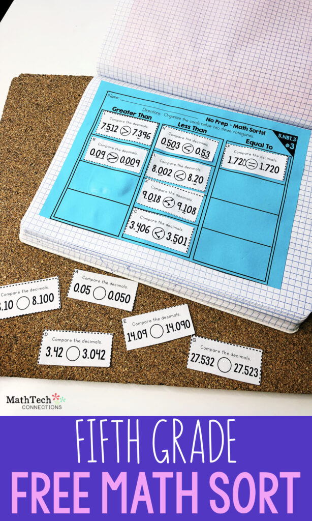 5th Grade Math Activity - Free Fifth Grade Math Sorting Activity - Perfect math center or test prep review