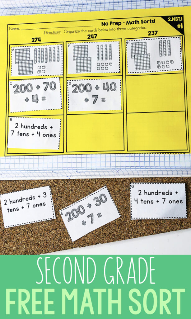 2nd Grade Math Activity - Free Second Grade Math Sorting Activity - Perfect math center or test prep review