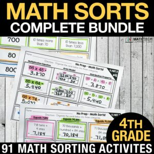 4th grade math sorts for math centers