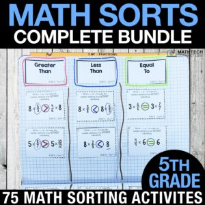 fifth grade math sorts for math centers