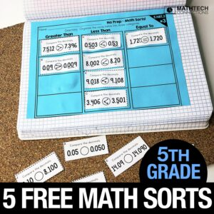 Free 5th Grade Math Sorting Activities for Math Workshop