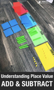 Review place value addition and subtraction with 3rd and 4th grade students. Use place value blocks or place value disks to review addition and subtraction. Free Place Value resources for guided math groups.