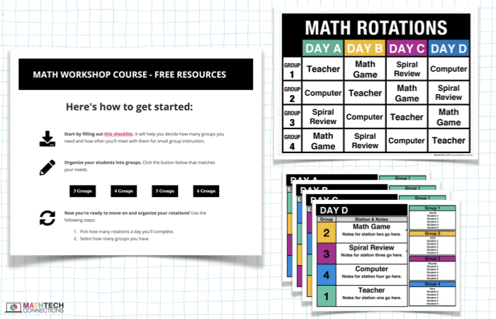 Interested in math workshop, but don't know where to start? I put together this short email course that will guide you through the following: How to group your students How to organize your math rotations: start small (20 min. a day) or go all in (60+ min. a day) How to choose resources that fit the math workshop model Plus, free samples of my Math Tech Connections resources