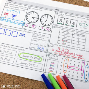 2nd grade spiral review - daily math review, includes grammar and cursive practice. Review all 2nd grade math standards. Use as morning work, homework, math warm-ups, or math centers.
