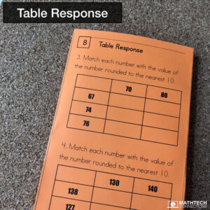 Table Response Guided Math Resources - Free Sample Common Core Test Prep and Guided Math Workshop practice